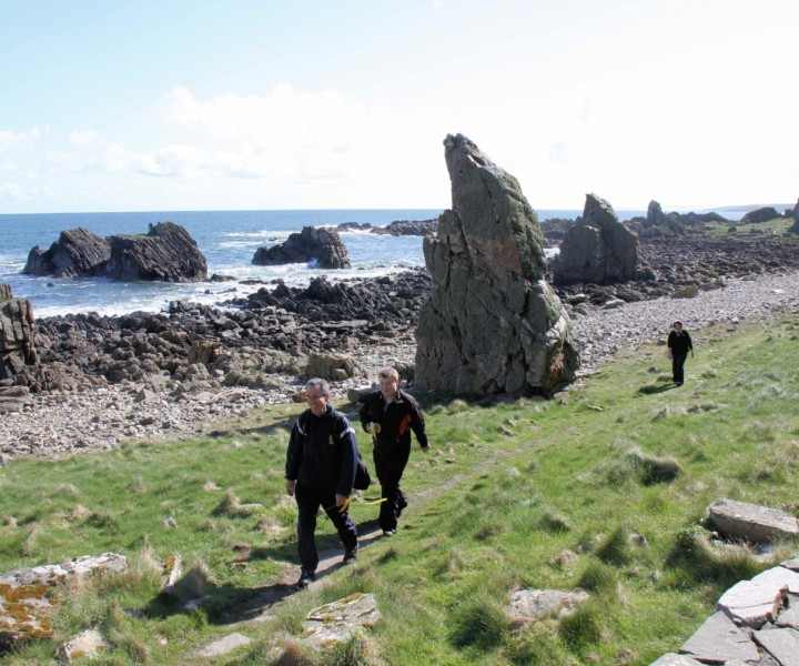 Walking spring coastal path